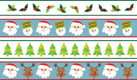 Christmas borders. Different kinds of seamless Christmas borders Royalty Free Stock Photography
