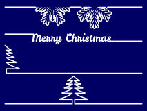 Christmas borders or dividers. Vector set of four christmas borders or dividers on blue background Stock Photo