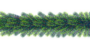 Christmas borders from fir tree branches. Vector illustration for your design Royalty Free Stock Image
