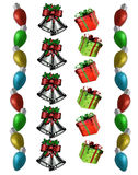 Christmas Borders lights bells presents Royalty Free Stock Photos