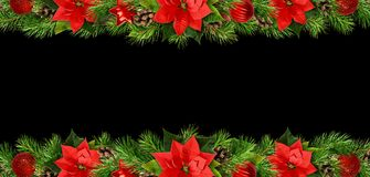 Christmas borders with red pionsettia flowers, pine twigs and de. Corations isolated on black background. Flat lay. Top view stock images