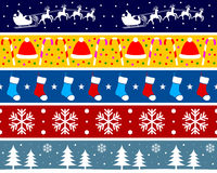 Christmas Borders Set [3]. Set of five Christmas seamless borders, useful as design elements or banners. Check my portfolio for other collections. Eps file Royalty Free Stock Photos