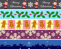 Christmas Borders Set [4]. Set of five Christmas seamless borders, useful as design elements or banners. Check my portfolio for other collections. Eps file royalty free illustration