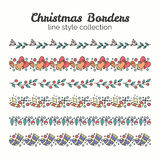 Christmas Borders. Set of Christmas Seamless Ribbons. Vector Line and Decoration. Winter Season Collection Royalty Free Stock Image