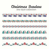 Christmas Borders. Set of Christmas Seamless Ribbons. Vector Line and Decoration. Winter Season Collection Stock Photo