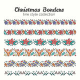 Christmas Borders. Set of Christmas Seamless Ribbons. Vector Line and Decoration. Winter Season Collection Royalty Free Stock Photo