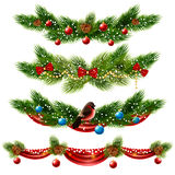Christmas Borders Set. Christmas realistic borders set with pine tree and decorations  vector illustration Stock Photo