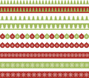Christmas borders. Set of seamless Christmas ribbons Stock Photos