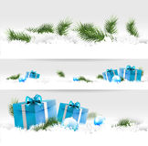 Christmas borders. Set of three Christmas borders with gifts, balls and branches Royalty Free Stock Photography