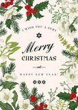 Christmas botanical card. Vector illustration stock illustration