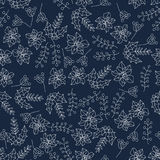 Christmas botanical seamless pattern with holly berries. Thin line vector design. Xmas background Stock Photos