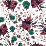 Christmas botanical watercolor pattern Royalty Free Stock Photo