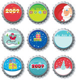 Christmas bottle caps Stock Photo
