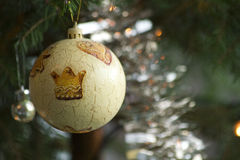 Christmas bouble on christmas tree branch Royalty Free Stock Photos