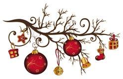 Christmas bough. Christmas decoration, colorful christmas bough vector illustration