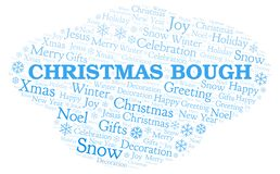Christmas Bough word cloud. Wordcloud made with text only stock illustration