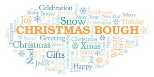 Christmas Bough word cloud. Wordcloud made with text only vector illustration