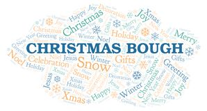 Christmas Bough word cloud. Wordcloud made with text only royalty free illustration