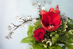 Amaryllis and rose in flower bouquet Royalty Free Stock Photo