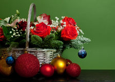 Christmas bouquet in a basket Royalty Free Stock Images
