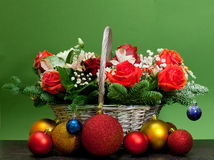 Christmas bouquet in a basket Royalty Free Stock Photos