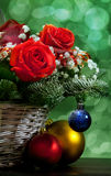 Christmas bouquet in a basket Royalty Free Stock Image