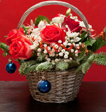 Christmas bouquet in a basket stock photo