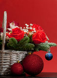Christmas bouquet in a basket Stock Image