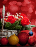 Christmas bouquet in a basket Stock Photography