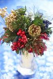 Christmas bouquet on blue background Stock Photography