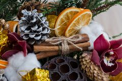 Christmas bouquet close-up of dried fruits and flowers