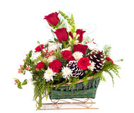Christmas Bouquet of Flowers in Sleigh Basket. Square photo of a Christmas floral bouquet with mostly red and white flowers of various kinds with pine cones all Stock Photography