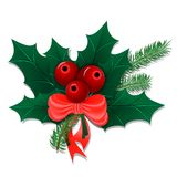 Christmas bouquet with holly leaves and berries Stock Photos