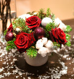 Christmas bouquet with roses Stock Photos