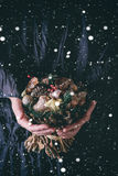 Christmas bouquet with snow Royalty Free Stock Photography