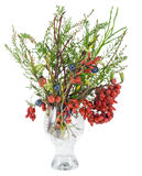 Christmas bouquet with wild wood berries isolated royalty free stock photo