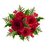 Christmas Bouquet With Roses And Holly. Royalty Free Stock Photo