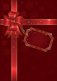 Christmas bow. Bow and ribbon wrapping paper sheet, illustration Stock Photo