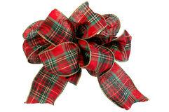 Christmas Bow. Christmas red and green bow (With clipping Path Royalty Free Stock Photo