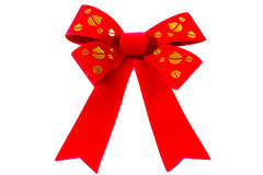 Christmas bow. Large red and gold christmas bow isolated on a white background Stock Photos