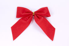 Christmas Bow. Red Christmas bow on white background Stock Photography