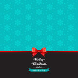 Christmas bow background. Christmas background with snowflake design and red bow Stock Photography