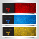 Christmas bow backgrounds. Collection of Christmas bow backgrounds with snowflake design Royalty Free Stock Images