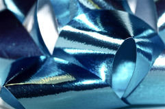 Christmas bow close up in blue Royalty Free Stock Photography