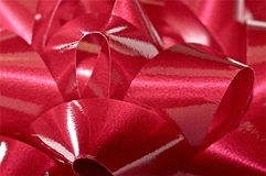 Christmas bow close up in red Stock Photo