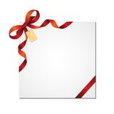 Christmas bow and gift card Royalty Free Stock Photo