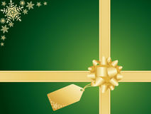 Christmas bow and gift card Royalty Free Stock Photos