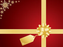 Christmas bow and gift card Royalty Free Stock Image