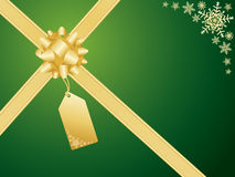 Christmas bow and gift card Royalty Free Stock Images