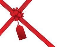 Christmas bow and gift card Stock Image